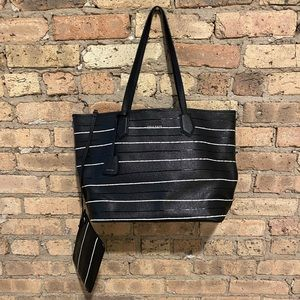 Black stripe Cole Haan tote and clutch